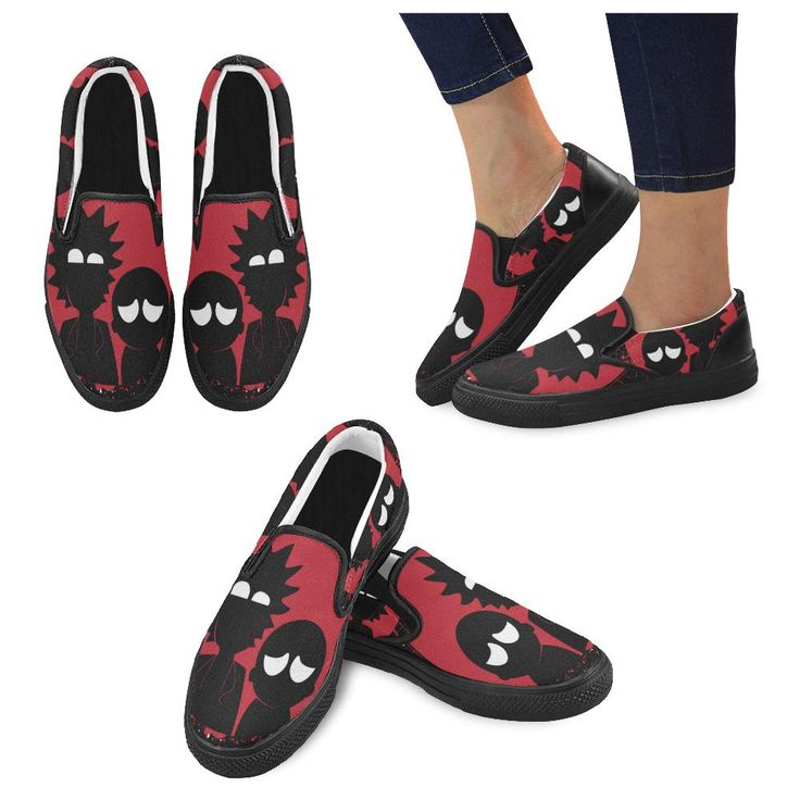 Rick Morty in the Dark Black Women's Slip-on Canvas Shoes