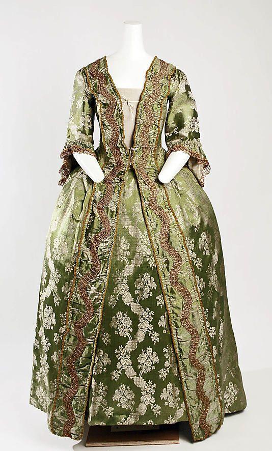 ca. 1750. silk francaise dress and matching petticoat. beautiful green brocade. French. MetMuseum