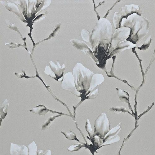 Magnifik magnolia i silver och grått från kollektionen Palmetto 110880. Klicka för att se fler inspirerande tapeter för ditt hem!