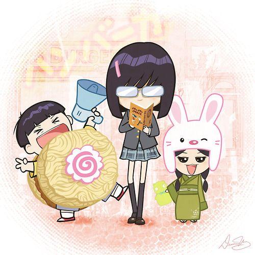 "Nippon-style Chibi Gene, Tina and Louise of Bob's Burgers. Gene - Ramen Burger suit, Tina is holding ""Make Out Tactics"" By Damon Wong"
