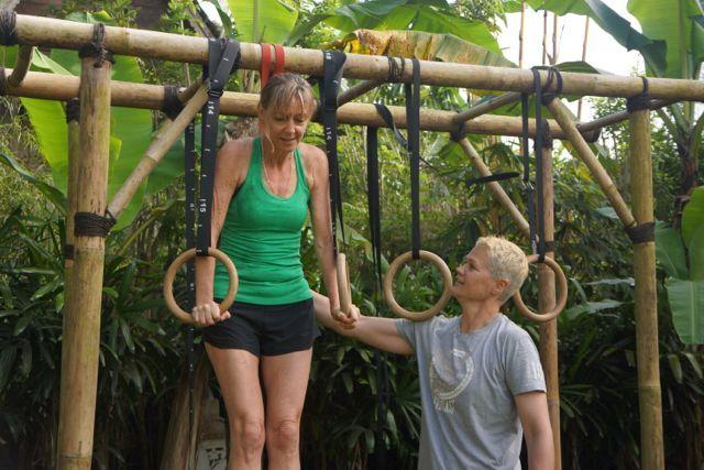 Training CrossFit Bali Style. Bamboo apparatus does the job. http://www.sharingbali.com/retreats/