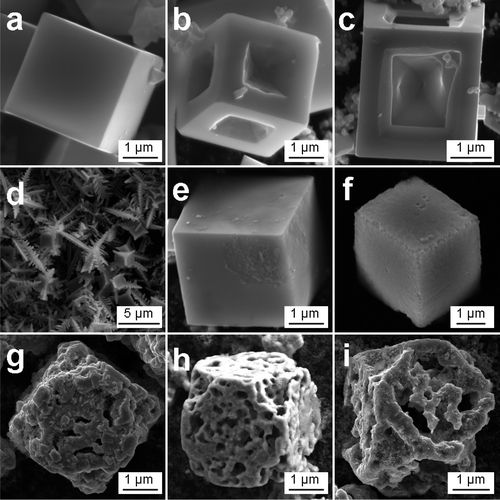 SEM images of the PbS microcubes in different etching process, on-site etching process in the presence of lead nitrate and potassium thiocyanate with different amounts of ammonium hydroxide: || credit goes to Xiaochuan Duan, Jianmin Ma, Yan Shen, and Wenjun Zheng || A Novel PbS Hierarchical Superstructure Guided by the Balance between Thermodynamic and Kinetic Control via a Single-Source Precursor Route