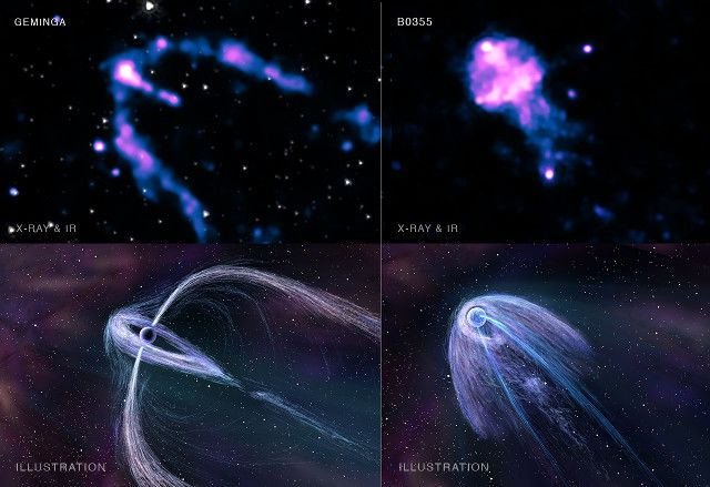 "Two articles published in ""The Astrophysical Journal"" describing research on as many pulsar that allow to better understand the geometry of the plasma in their vicinity. Two independent team used NASA's Chandra space telescope to study the pulsar Geminga, also known as PSR B0633+17, and PSR B0355+54 gathering information on the nebulas of high-energy particles called in jargon plerions generated by the pulsars. Read the details in the article!"