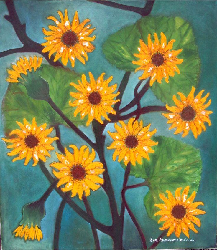 ''żółte kwiaty'' olej 70x80 Ewa Andruszkiewicz