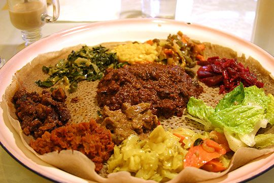 traditional plate of food. This is spun around on a table so that everyone gets a portion