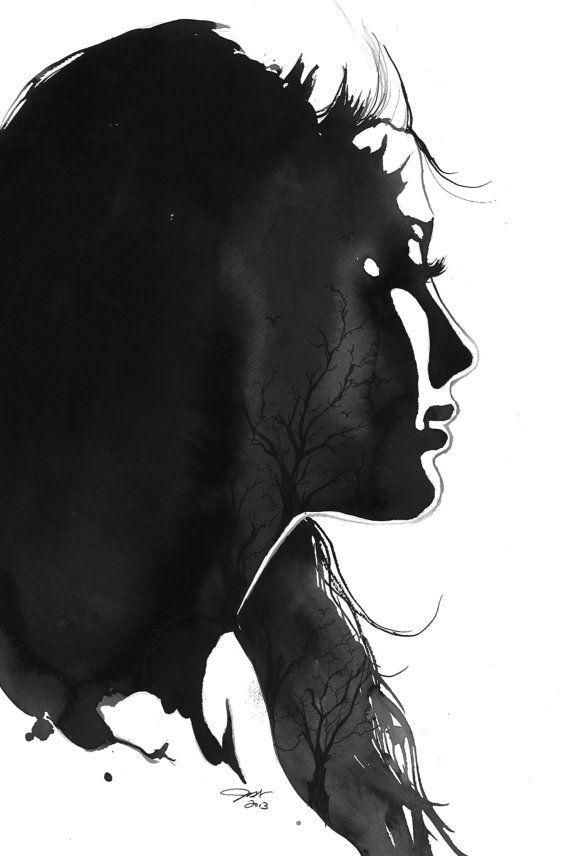 Inverno, stampa da illustrazione originale di acquerello e tecnica mista di Jessica Durrant by JessicaIllustration