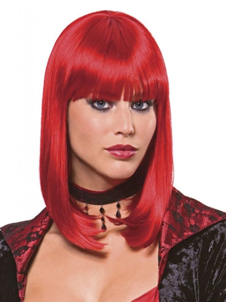 star costume wig by incognito is sleek straight and ready to wear a classic blunt page in the style of cleopatra for the fashion conscious or the fun - Red Wigs For Halloween