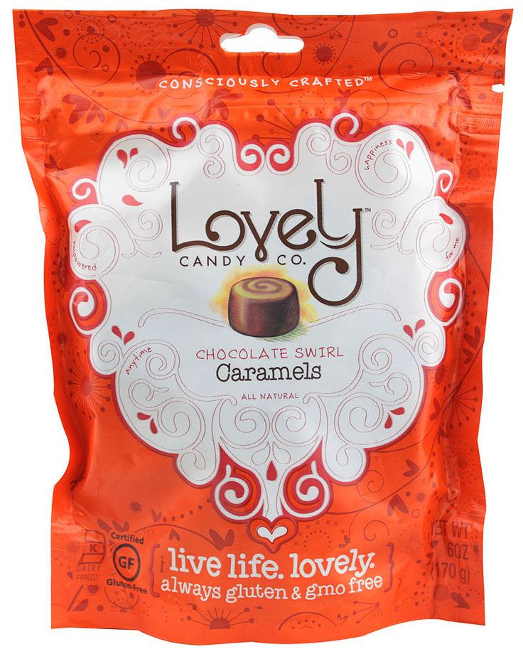 delicious chocolate swirl caramels! Gluten free, GMO free, no HFCS, soy or wheat!