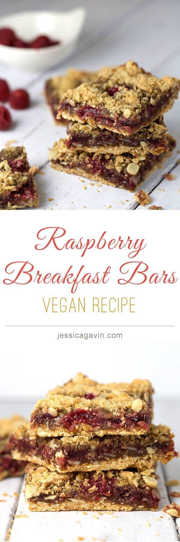 Vegan whole grain raspberry breakfast bars   jessicagavin.com #veganrecipes
