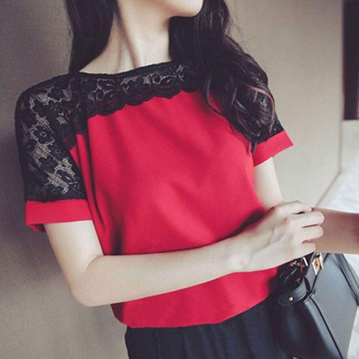 Women Blouses Lace Chiffon Blouse Blusa Feminina Tops Short Sleeve Fashion Chemise Femme Woman Shirts Plus Size 5XL/6XL Red [Affiliate]
