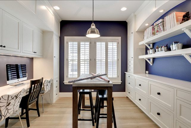 Craft Room Design Ideas. This craft room is just great! #CraftRoom #Computerroom Paint Color: Benjamin Moore Old Navy 2063 10