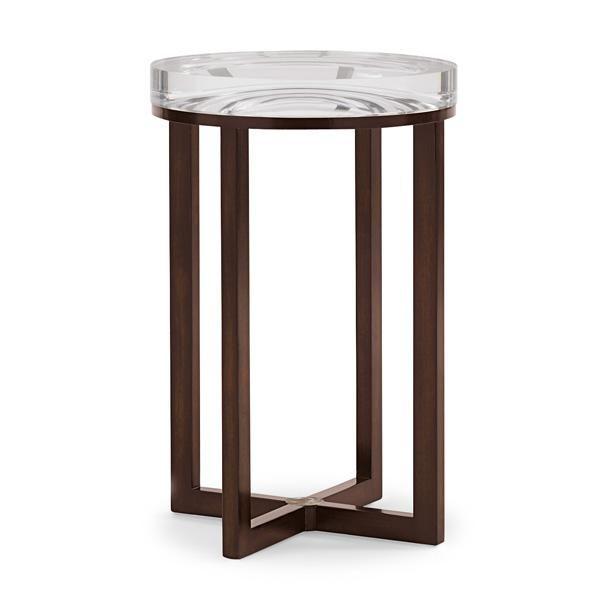 "Depth Perception Accent Table  Acrylic + wood  16"" diameter x 25"" high"