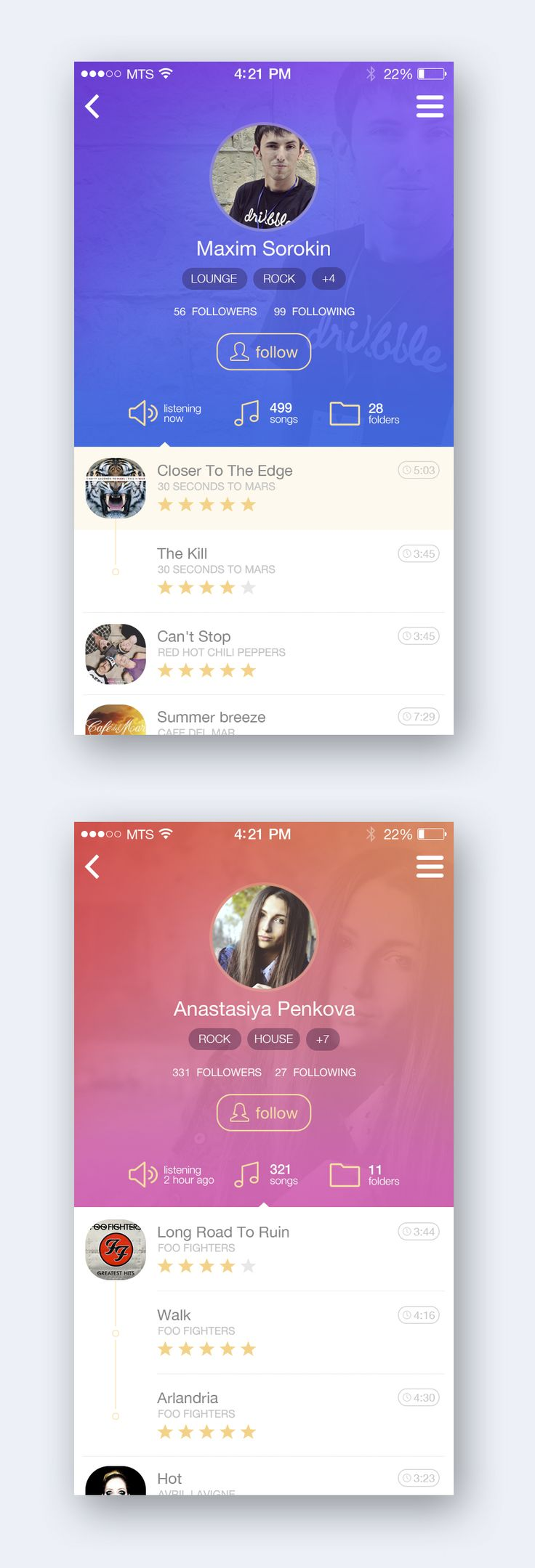 Music App Profile by Maxim Sorokin |  #appdesign #interface #design