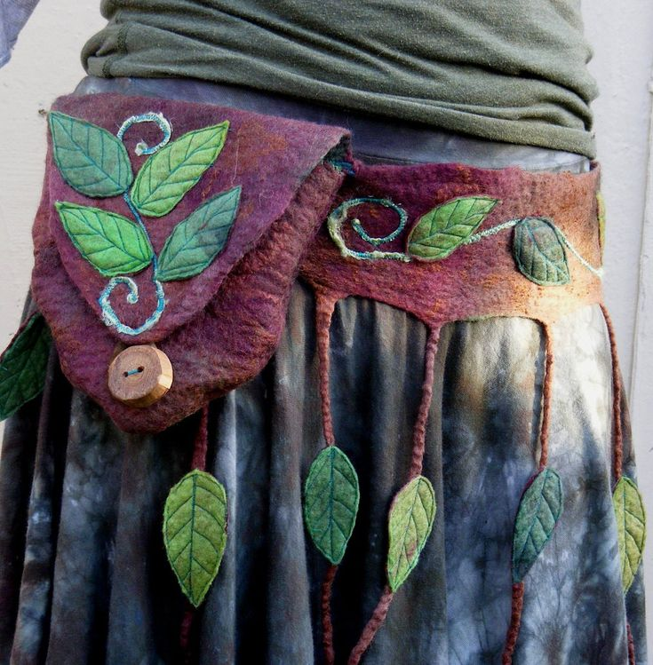 Forest Dweller Rustic Nature Leafy Belt Bag Hand Felted