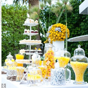 """candy bar... We did this at our wedding with little bags that read """"sweets for our sweets"""""""