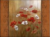 Poppies and Morning Mist II    - Tile Mural