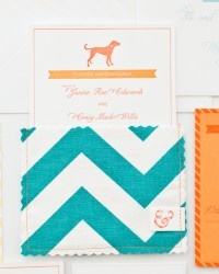Janine + Craig's Chevron Stripe Fabric Pocket Wedding Invitations oh so beauiful paper