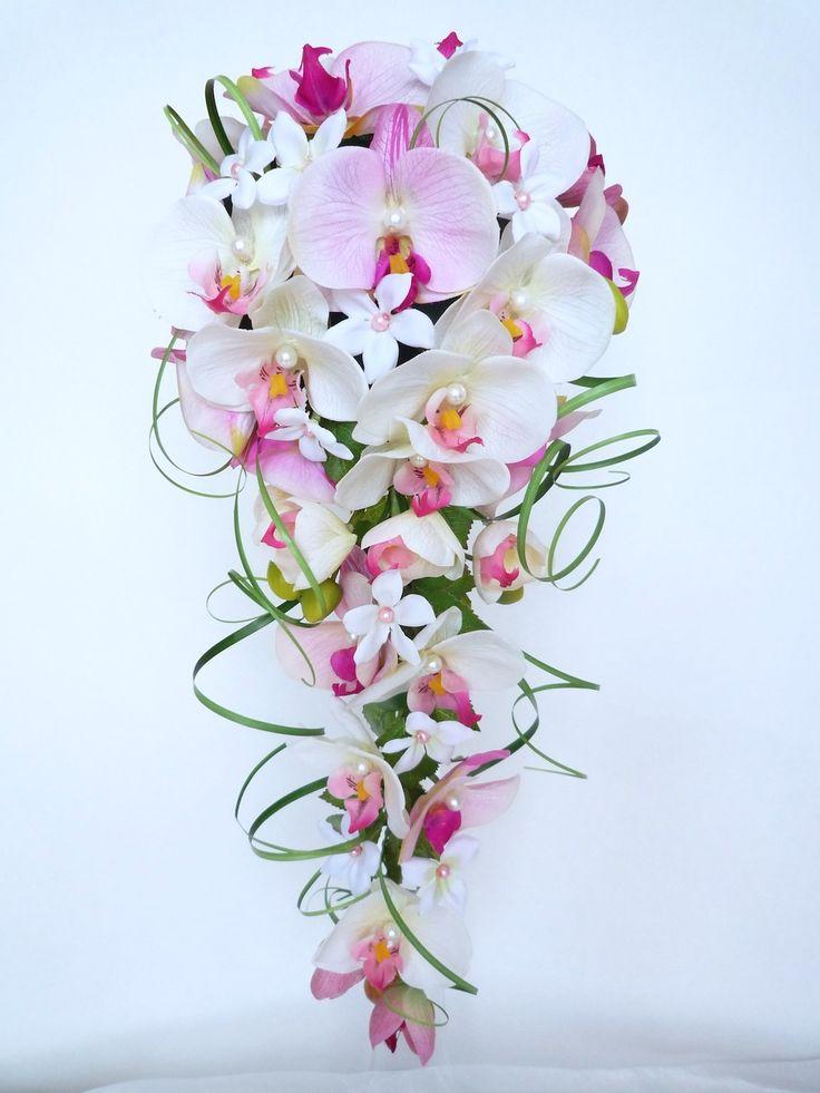 Bouquet de mariée cascade orchidée rose blanc jasmin blanc et la boutonnière (réf,bouquet-c014) : Accessoires de maison par fleur-angelique