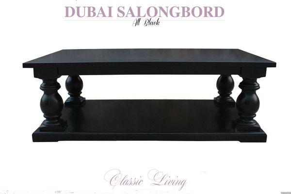 Flott helsort stuebord fra ClassicLiving. Kraftige kuleben og hylle under salongbordet. Lekkert og robust salongbord.