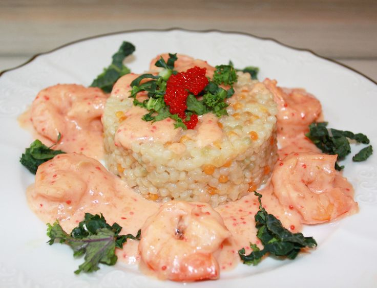 Shrimp in Champagne Cream Sauce with Pearl Couscous. Restaurant Quality meal...Recipe: http://www.gourmeteasybyoksana.com/main-course/#/shrimpchampagne/
