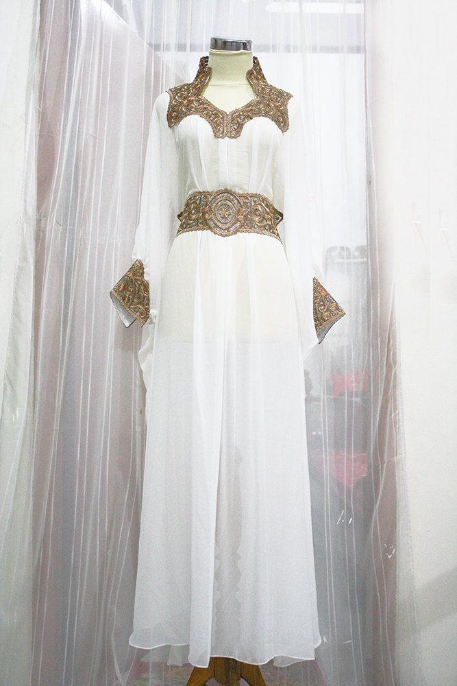 Super White Caftan Moroccan Style Chiffon Gold Embroidery