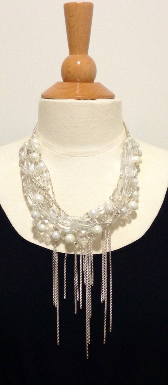 Statement necklacebridal necklacepearl by kirstenann on Etsy