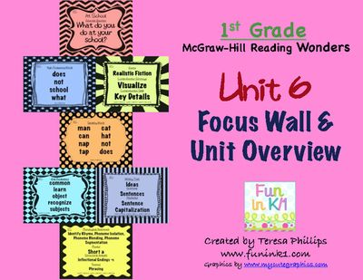 First Grade Reading Focus Wall supports Unit 6 McGraw Hill WOnders  from Teaching with Technology and Fun on TeachersNotebook.com