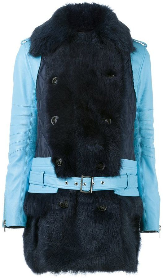 Sacai fur trim leather coat