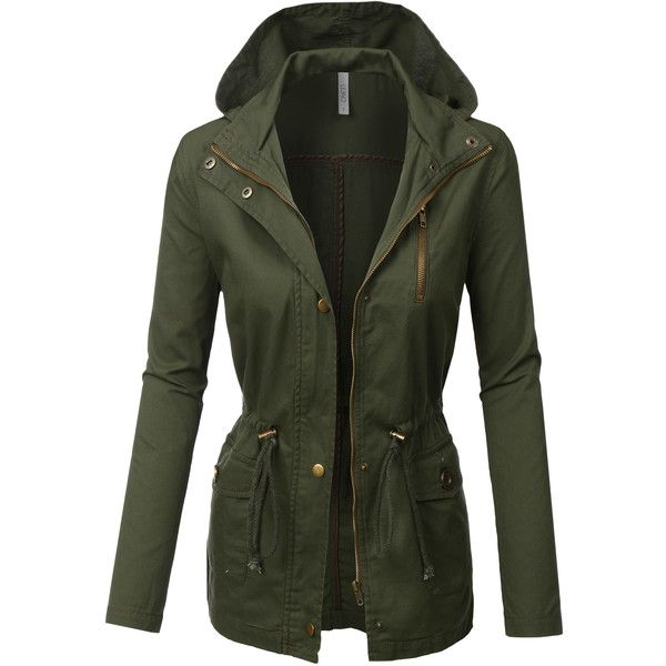 LE3NO Womens Military Anorak Safari Jacket ($29) ❤ liked on Polyvore featuring outerwear, jackets, military anorak, fashion military jacket, anorak coat, military inspired jacket and safari jacket