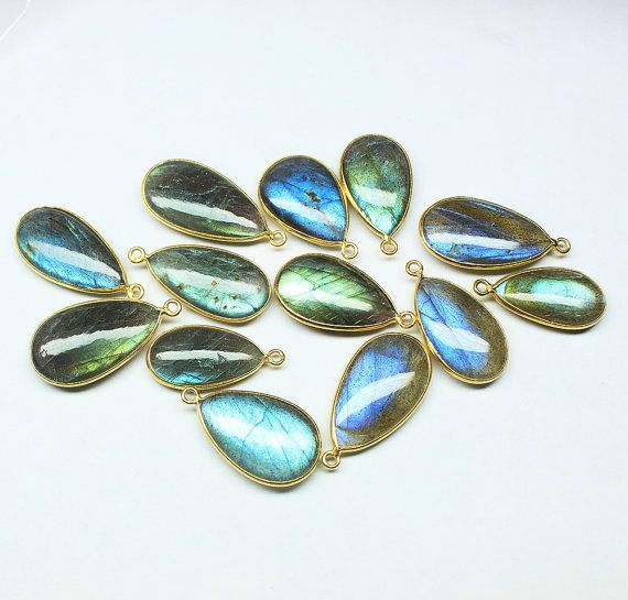 Connector Labradorite pear 2124mm gold vermeil by jewelsexports, $20.15