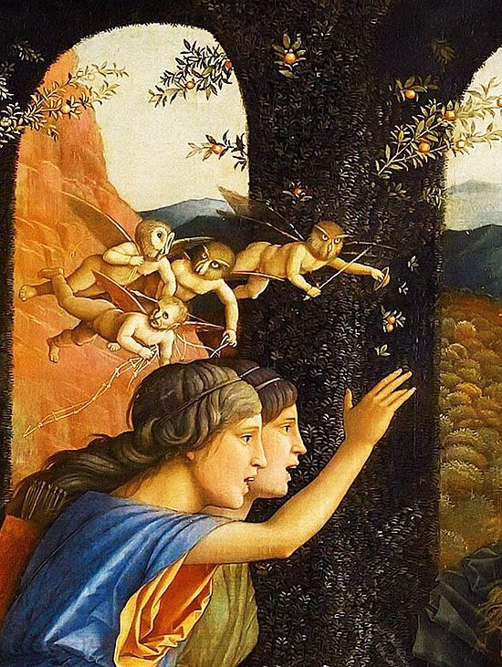 Andrea Mantegna. Detail from Minerva Expelling the Vices from the Garden of Virtue, 1502.