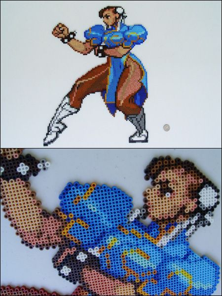 Street Fighter Alpha 3 Chun Li bead perler sprite magnet by 8bitcraft on deviantART