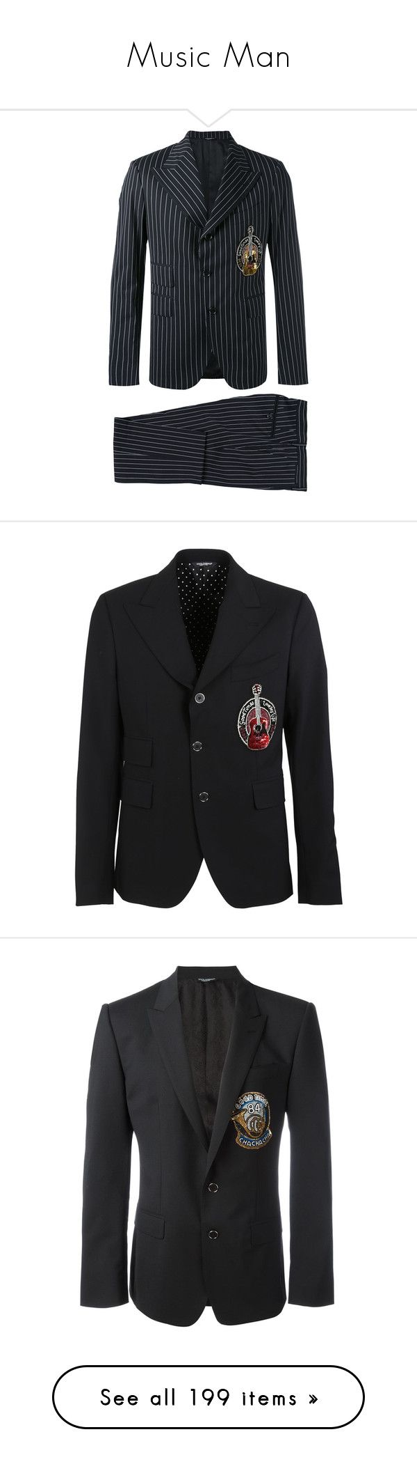 """""""Music Man"""" by nataliesharin ❤ liked on Polyvore featuring men's fashion, men's clothing, men's suits, black, mens slim fit pinstripe suit, mens slim suits, mens slim fit suits, dolce gabbana mens suits, mens pinstripe suit and men's sportcoats"""