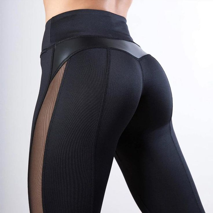 Black Fitness Heart Workout Mesh And PU Leather Patchwork Leggings 2