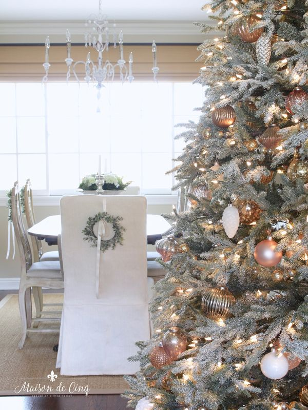 French Inspired Romantic Christmas Dining Room Chic Christmas Decor Holiday Decor Shabby Chic Christmas Decorations