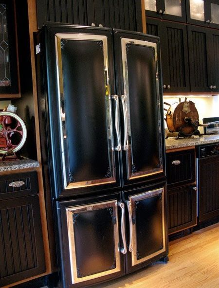 black and silver goth victorian style fridge