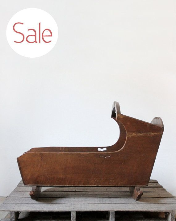SALE  Antique Wood Cradle / Americana Bassinet by 86home on Etsy, $194.60