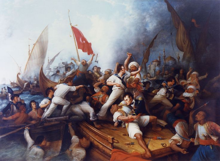 U.S. naval officer Stephen Decatur boarding a Tripolitan gunboat during the First Barbary War, 1804