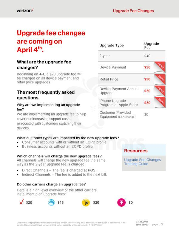 Verizon Will Charge Customers $20 To Upgrade Phones Because They Can   If youre a Verizon customer planning to upgrade your phone dont be surprised when youre charged an extra fee: as of Monday April 4 the carrier will charge customers $20 to activate upgraded devices even if they dont buy the device from Verizon. Customers who get their phones elsewhere simply get the fee added to their next bill after the upgrade.  Macrumors was the first to share the news and CNN confirmed it with a…