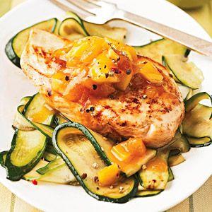 Triple-Mango Chicken Mango chunks, mango chutney, and mango juice lend a sweet tropical flair to this easy chicken dinner.