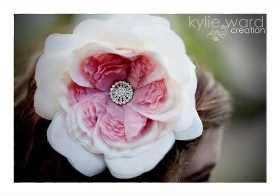 Shaded old rose silk flower fascinator by All About Romance