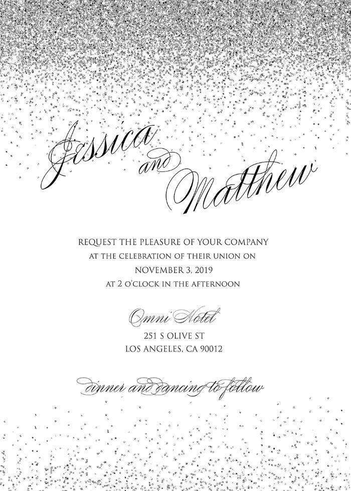 Free Printable Sparkling Silver Wedding Invitation Silver Wedding Invitations Free Wedding Invitations Free Printable Wedding Invitations
