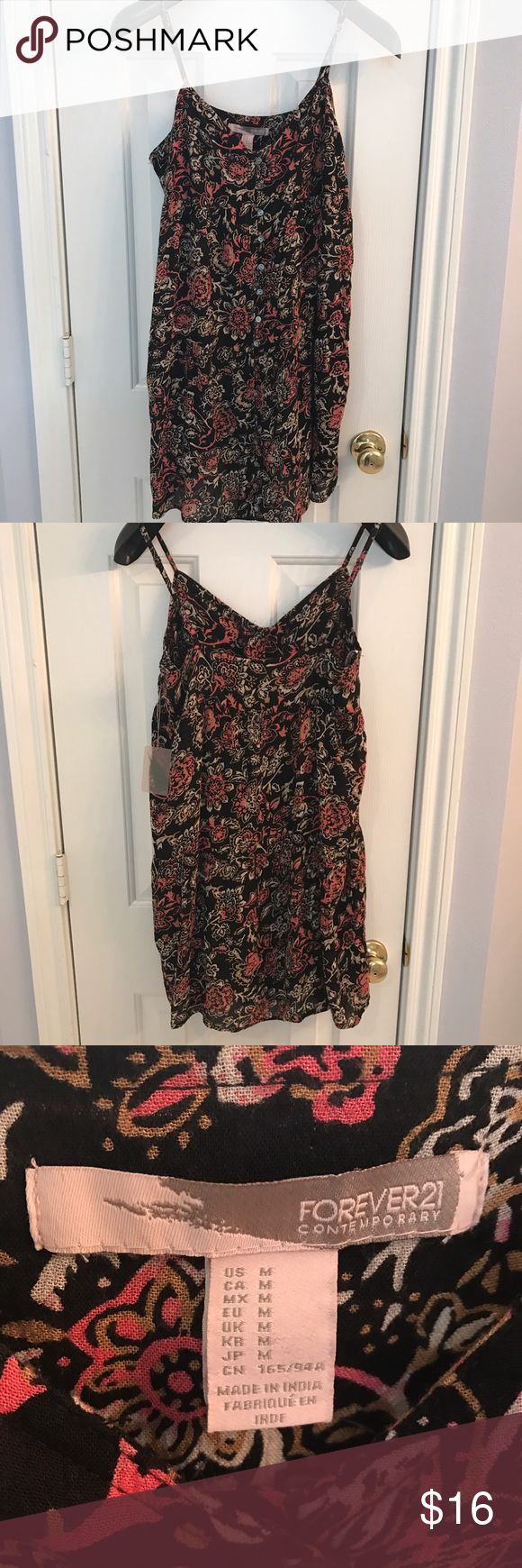 Closet triangle cut out back dress - Forever 21 Sundress In Back And Orange Floral Nwt