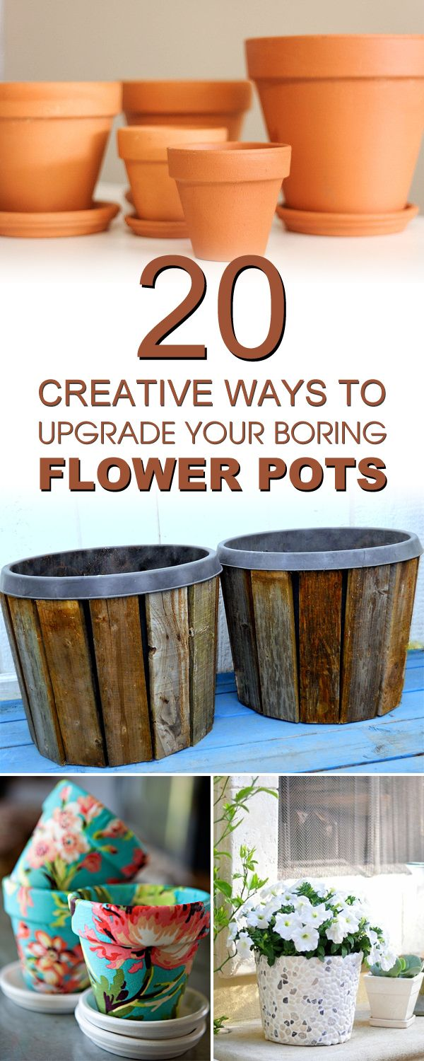 Here are 20 inspiring ways to decorate your ordinary terracotta pots to make them more eye-catching.