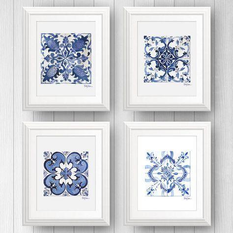 Portugal Tile, Mexican Talavera Tile Art Prints, Tile Wall Art Bundle