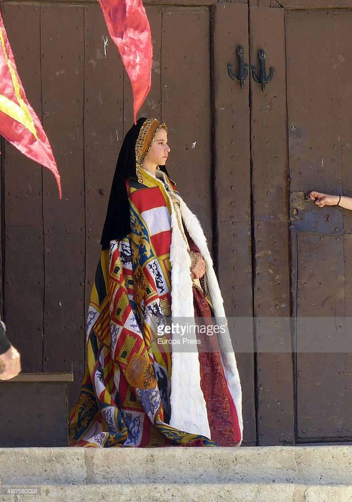 Irene Escolar is seen during the filming of 'La Corona Partida' in Torrelaguna on May 21, 2015 in Madrid, Spain.