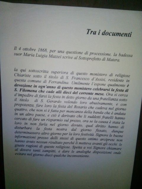 Documento-Chiesa di Santa Chiara Ferrandina