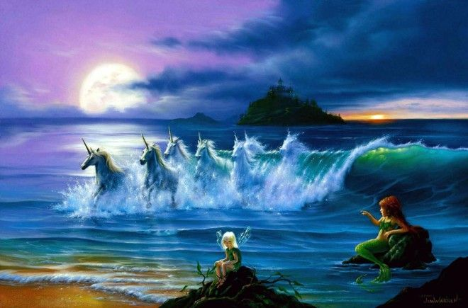 Horses in the water  surreal imagination illusion creativity paintings best beautiful awesome jim warren amazing