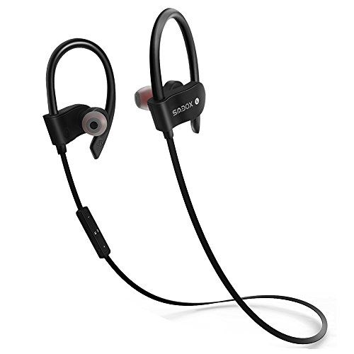 Bluetooth EarphonesSMBOX Wireless Sports Earbuds Built in Mic Stereo Bluetooth Headphones Sweat/Water Proof Headset for Bluetooth-Enabled Devices In-Ear Headphones with Super Sound Quality - Black