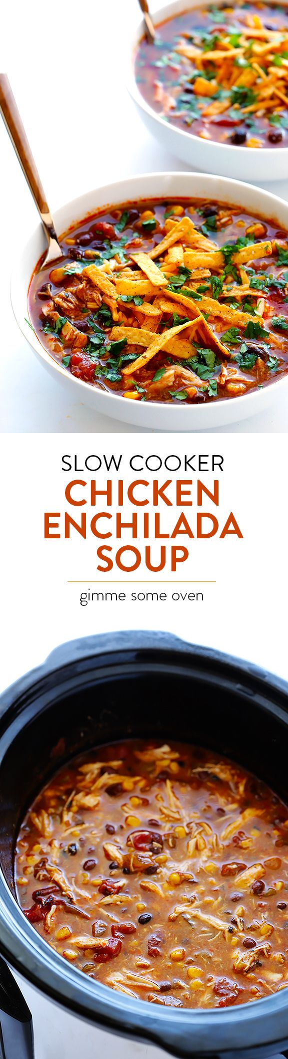 Let your crock pot do all of the work with this Slow Cooker Chicken Enchilada Soup.  It only takes minutes to prep, and it's MUY delicioso! | gimmesomeoven.com